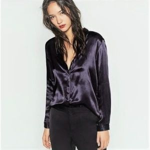 ZARA satin button down blouse